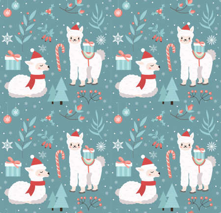 Merry christmas seamless pattern. Cute llama in winter forest repeating texture. Little alpaca wearing santa claus hat, snowflakes endless background. Vector illustration. 矢量图像