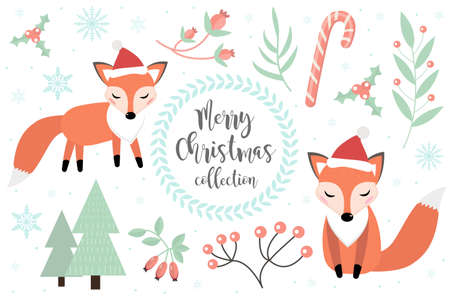 Cute fox in the winter forest set of objects. Collection of design elements with a little foxy in a hat of Santa Claus, snowflakes and a Christmas tree. Merry christmas postcard. Vector.