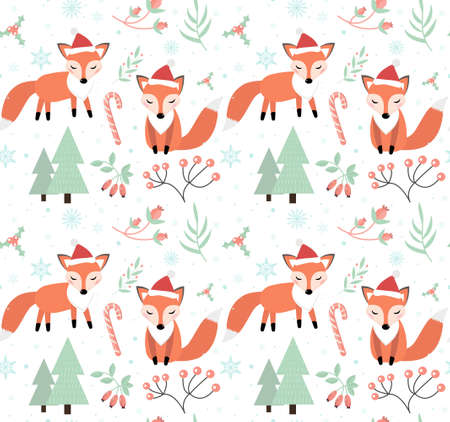 Cute foxes in the winter forest seamless pattern. little fox in a hat of Santa Claus, snowflakes and a Christmas tree endless texture. Merry christmas background. Vector. 矢量图像