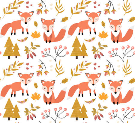 Cute fox in the autumn forest seamless pattern. little fox, autumn plants, flowers repeating texture. Kids baby funny smiling animal background. Vector illustration. 矢量图像