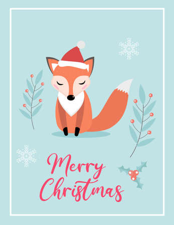 Merry christmas cute card with fox in santa hat. Winter holidays new year template for your design. Vector illustration.