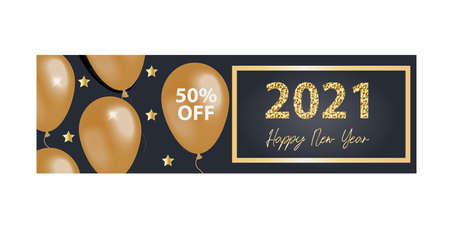 Happy new year 2021. Greeting card, invitation template for your design with glitter effect. Vector illustration. 矢量图像