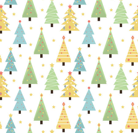 Merry christmas seamless pattern. Cute Christmas trees texture background. Vector illustration.