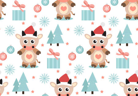 Merry christmas seamless pattern. Cute Bull in a hat of Santa Claus, snowflakes endless texture background. Vector illustration.