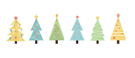 Christmas trees set of objects. Cute new year decorations collection. Isolated on white background. Vector illustration.