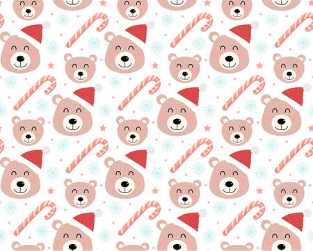 Merry christmas seamless pattern. Cute teddy bear in a hat of Santa Claus, snowflakes endless texture background. Vector illustration.