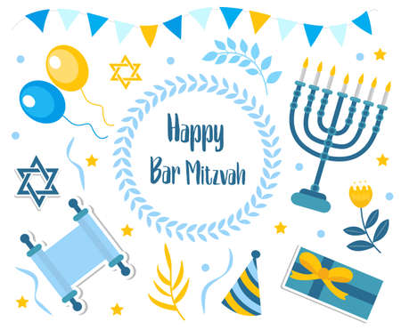 Happy bar mitzvah set. Collection of design elements for Jewish holiday birthday with menorah, torah, balloons, gifts. Vector illustration, clip art. 矢量图像