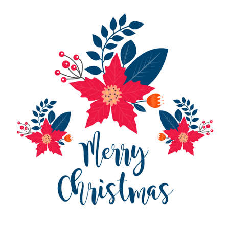 Merry Christmas frame banner with winter plants, holly, poinsettia, fir branch, pine. Template for your design, postcards, invitations. Vector illustration. 矢量图像