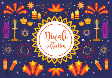 Diwali icon set, holiday lights in india. Collection of design elements with candles, fireworks, paper lantern, stars, rockets. Vector illustration, clip art.