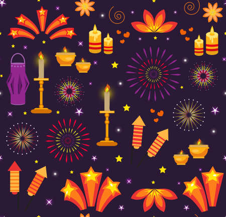 Diwali seamless pattern, india holiday lights repeating texture. Vector illustration background.