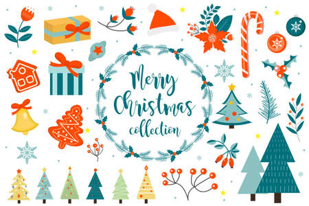 Merry christmas winter objects set. Collection of design elements with holly, poinsettia, fir branch, pine, bell, gifts, santa hat. Vector illustration, clip art.
