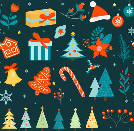 Merry christmas seamless pattern. New Year winter repeating texture, background. Vector illustration.