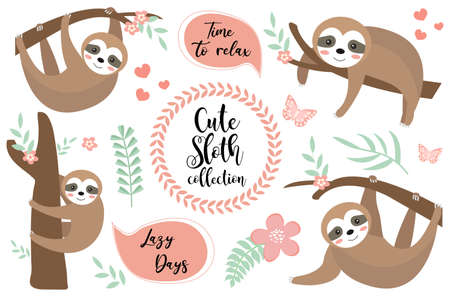 Cute sloth character set. Collection of design elements with trees, plants, flowers. Kids baby clip art funny smiling forest animal, sticker. Vector illustration.