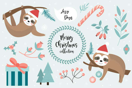 Cute sloth Merry christmas set. Collection of design elements with a little sloths in a hat of Santa Claus, snowflakes and a Christmas tree. Vector.