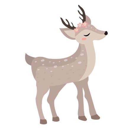 Cute deer icon flat, cartoon style. Vector illustration.