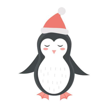 Cute penguin christmas icon flat, cartoon style. Vector illustration.