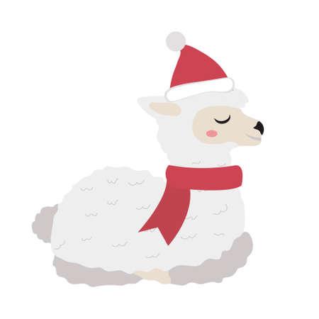 Cute llama christmas icon flat, cartoon style. Vector illustration.