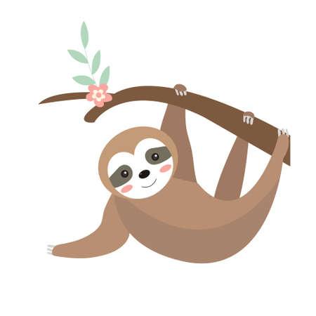 Cute sloth icon flat, cartoon style. Vector illustration.