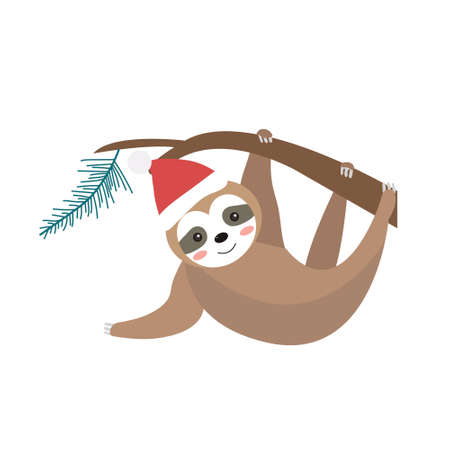 Cute christmas sloth icon flat, cartoon style. Vector illustration.