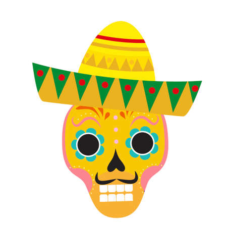 Day of death skull in sombrero flat icon, cartoon style. Vector illustration.