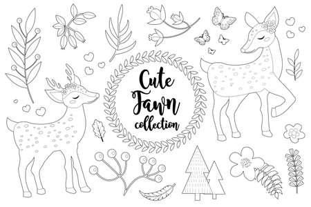 Cute little deer set Coloring book page for kids. Collection of design element sketch outline style. Kids baby clip art funny smiling kit. illustration. 矢量图像