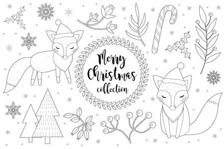 Cute little fox set Coloring book page for kids. Collection of design element sketch outline style. Kids baby clip art funny smiling kit. Vector illustration.