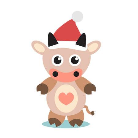 Cute bull cow icon flat, cartoon style. Vector illustration.