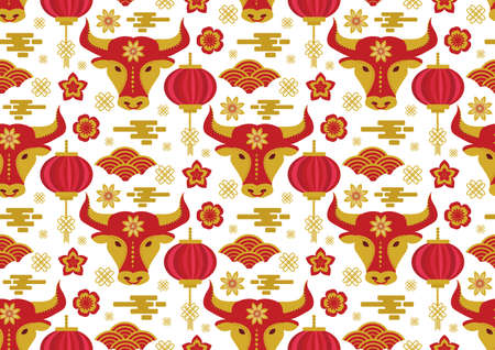 Chinese New Year seamless pattern. Year of the bull 2021 Repeating texture, background. Vector illustration. 矢量图像