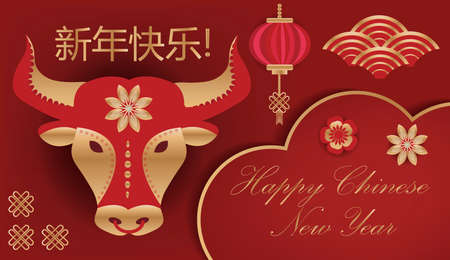 Happy Chinese New Year greeting card, template for your design. 2021 bull in the Chinese calendar. Vector illustration.