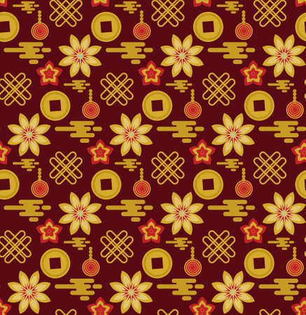 Chinese style red gold seamless pattern. Repeating texture, background. Vector illustration. 矢量图像