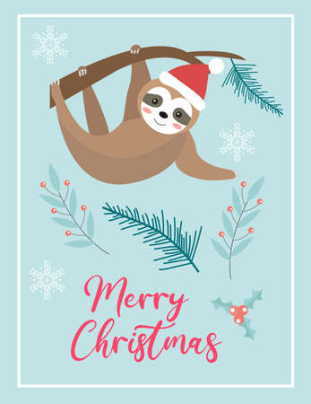 Merry christmas cute card with sloth in santa hat. Winter holidays new year template for your design. Vector illustration.