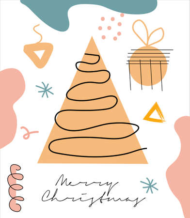 Modern abstract hand drawing Christmas doodles greeting cards, Trendy contemporary design template. 矢量图像