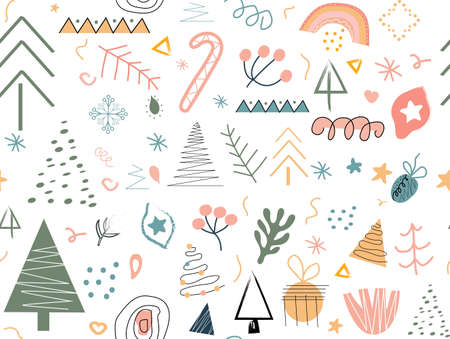 Modern abstract hand drawing Christmas doodles seamless pattern, Trendy contemporary clip art.