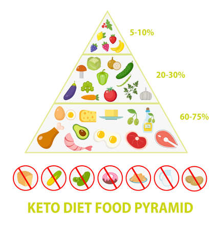 ketogenic diet macros pyramid food diagram, low carbs, high healthy fat. 矢量图像