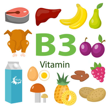 Vitamins and Minerals foods .Vector set of vitamin rich foods. Vitamin B3 meat, spinach, poultry, fish, liver, mushrooms, potatoes and peanuts.