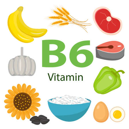 Vitamins and Minerals foods Illustrator set 10.Vector set of vitamin rich foods. Vitamin B6-bananas, spinach, meat, nuts, poultry, fish.