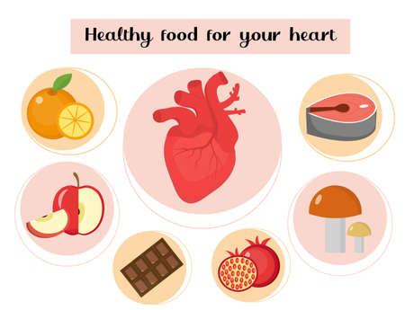 Healthy food for your heart infographic. Concept of food and vitamins, medicine, heart disease prevention. Vector illustration.