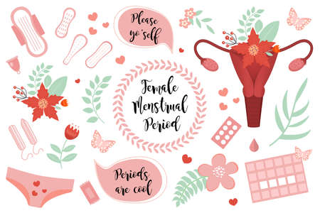 Female menstruation period set. Collection of stickers icons of the female reproductive system, pads, tampons, queen of flowers, menstrual calendar. Vector illustration. Иллюстрация