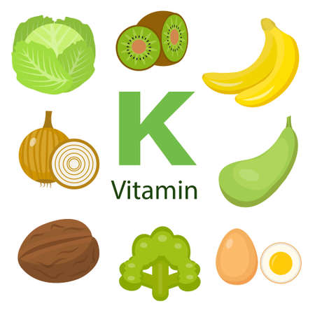 Infographic set of vitamin K and useful products: lettuce, banana, avocado, asparagus, walnut, broccoli, wheat, sorrel, watercress, pea, kiwi Healthy lifestyle and diet vector concept