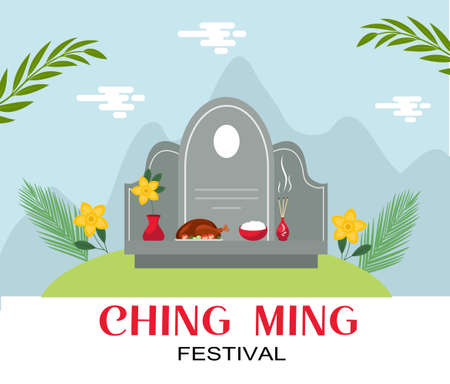 Ching ming traditional chinese festival celebration. Vector illustration.