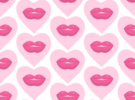 seamless hot love lips illustration kissing mouth background pattern in vector.