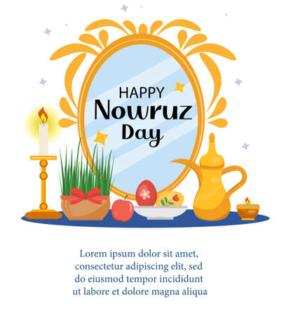 Happy Nowruz day greeting card, template for your design. New Year in Iran. Vector illustration, clip art Vectores