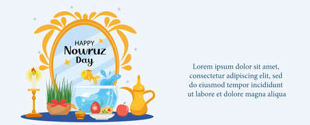 Happy Nowruz day greeting card, template for your design. New Year in Iran. Vector illustration, clip art