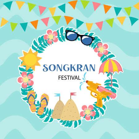 Happy Songkran festival Thailand beautiful design background, vector illustration.