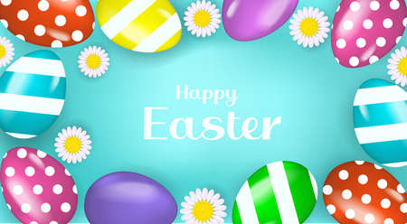 Happy Easter banner poster with realistic Easter eggs and chamomile. Spring cute template for your design with text space. Round frame. Vector illustration. Ilustração Vetorial