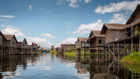 humid south: Inle lake village Stock Photo