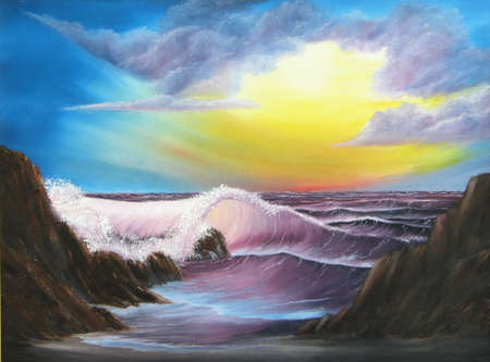 painting of colorful glorious seascape at sunset photo