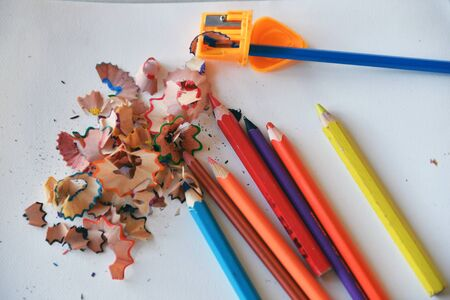 Crayons on a white background Stock Photo