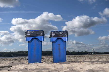 garbage bins at the beach