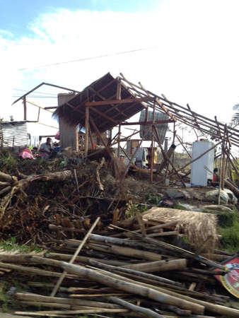 devastation: House wrecked by Typhoon Yolanda Stock Photo